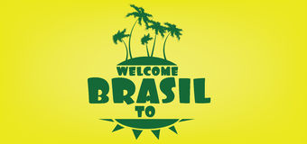 Welcome to brasil card with an island and palm trees over yellow background, in outlines Royalty Free Stock Photos