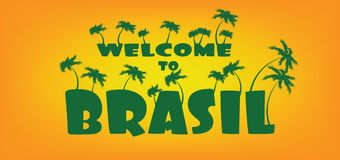 Welcome to brasil card with palm trees over orange background, in outlines Stock Photography