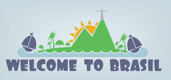 Welcome to brasil card with sun, boat and palm trees over silver background, in outlines Stock Photos