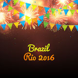 Welcome to Brazil Rio 2016. Background with balloons and with a garland from Brazil flag colors. Invitation to games in Rio de Janeiro, vector illustration Stock Photography