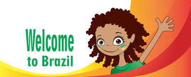 Welcome to Brazil. Vector banner Welcome to Brazil. Brazilian child greets participants of sports competitions. Elements of the Brazilian flag and the Stock Image