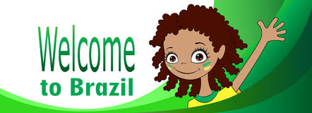 Welcome to Brazil. Vector banner Welcome to Brazil. Brazilian child greets participants of sports competitions. Elements of the Brazilian flag and the Stock Photos