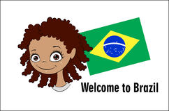 Welcome to Brazil. Vector banner Welcome to Brazil. Brazilian child greets participants of sports competitions. Elements of the Brazilian flag and the Royalty Free Stock Photo