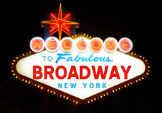 Welcome to Broadway. Sign, at night Royalty Free Stock Image