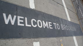 Welcome to Brooklyn. Paving slab on the Brooklyn Bridge, new york Stock Images