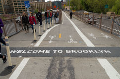 Welcome to brooklyn. NEW YORK - APRIL 29, 2016: welcome to brooklyn sign on the brooklyn bridge walkway. It connects the New York City boroughs of Manhattan and Royalty Free Stock Photos
