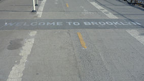 Welcome to Brooklyn. A Welcome to Brooklyn sign on the Brooklyn Bridge Stock Photos
