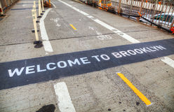 Welcome to Brooklyn sign. At the Brooklyn bridge in New York Royalty Free Stock Photos
