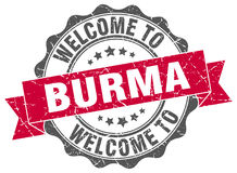 Welcome to Burma seal. Welcome to Burma round vintage seal Stock Photo