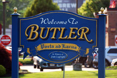 Welcome to Butler, NJ. Welcome sign in Butler borough, Morris county, New Jersey, USA royalty free stock photo