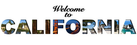 Welcome to California text picture collage. Welcome to California text picture montage stock photo