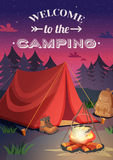 Welcome To Camping Poster. Camping vertical background poster with cartoon style composition shelter tent campfire at the set of sun vector illustration Stock Image