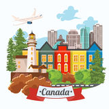 Welcome to Canada. Light design. Colorful Postcard with airplane. Canadian vector illustration. Retro style. Travel postcard. Stock Images