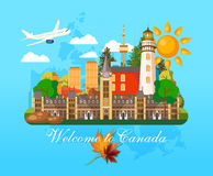 Welcome to Canada. Postcard. Canadian vector illustration. Retro style. Travel postcard. Welcome to Canada. Canadian vector illustration. Travel postcard Stock Photography
