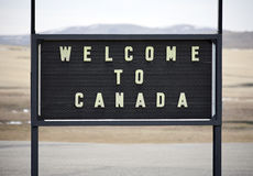 Welcome to Canada. A welcome sign at the Canadian border in Alberta Royalty Free Stock Photos