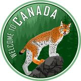 Welcome to Canada woodland forest label logo emblem with lynx - Vector royalty free illustration