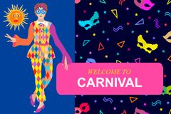 Welcome to carnival card. Dancer in festive dress and bright background. royalty free illustration