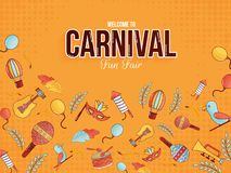 Welcome to carnival fun fair poster or banner design. Welcome to carnival fun fair poster or banner design with illustration of carnival elements in flat style stock illustration