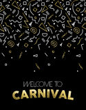Welcome to Carnival gold party template design Stock Image