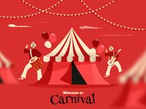 Welcome to carnival poster or banner design. stock illustration