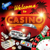 Welcome to casino. Vector illustration on a casino theme with lighting display Royalty Free Stock Image