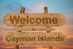Welcome to Cayman Islands sing on wood background Royalty Free Stock Image