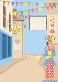 Welcome to the celebration. Illustration of town street, clown and holiday decoration with copy space Stock Images