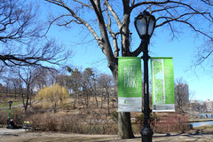 Welcome to Central Park. A sign that welcomes visitors to Central Park, in New York City Stock Images