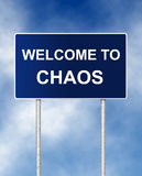 Welcome to chaos. The road sign symbol with text Welcome to chaos Royalty Free Stock Photography
