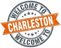 Welcome to Charleston orange round stamp Stock Photos