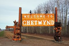 Welcome Chetynd British Columbia, Canada Sign. Welcome to Chetynd British Columbia, Canada Sign. Home of World Class Chainsaw Carving royalty free stock photos