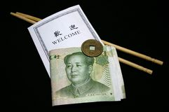 Welcome To China. Over black Stock Photo