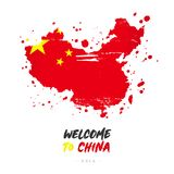 Welcome to China. Flag and map of the country royalty free illustration