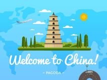 Welcome to China poster with famous attraction Stock Image
