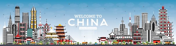 Welcome to China Skyline with Gray Buildings and Blue Sky royalty free illustration