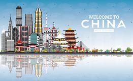 Welcome to China Skyline with Gray Buildings, Blue Sky and Reflections vector illustration