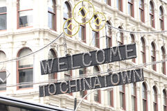 Welcome to China Town. The welcome to chinatown sign above the streets of NYC in Manhattan Stock Photography