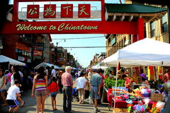 Welcome to chinatown CHICAGO,ILLINOIS JULY 2012. People entering Chinatown for a street festival July 2012 in Chicago,Illinois Royalty Free Stock Photos