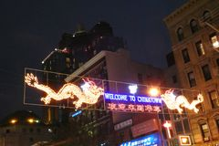 Welcome to Chinatown Sign. A Welcome to Chinatown luminous sign on Canal Street, in downtown Manhattan stock image