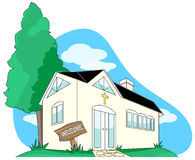 Welcome to Christian Hut Church Community Clip Art. A countryside bible study community hut church illustration Stock Photo