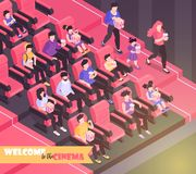 Welcome To Cinema Background. Isometric movie cinema composition background with indoor view of movie theater auditorium with chairs and audience vector royalty free illustration