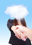 Welcome to Cloud computing future world. Business woman with cloud gives a handshake to you Royalty Free Stock Photos