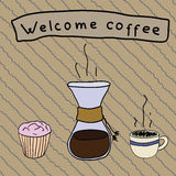 Welcome to cofee. Sweet chemex set. Sweet chemex set. Welcome to cofee. Hot coffee in a chemex and sweet cupcake Royalty Free Stock Photo