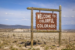 Welcome to Colorado roadside sign royalty free stock photo