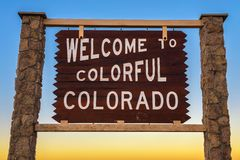 Welcome to colorful Colorado road sign royalty free stock images