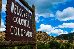 Welcome to Colorful Colorado State Sign Stock Image
