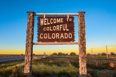 Welcome to colorful Colorado street sign along Interstate I-76 royalty free stock images