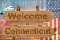 Welcome to Connecticut in USA sign on wood, travell theme Royalty Free Stock Images
