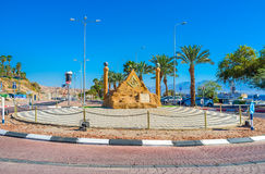 Welcome to Coral Beach neighborhood. EILAT, ISRAEL - FEBRUARY 24, 2016: The scenic sculpture decorates the road in neighborhood of Coral Beach, on February 24 in stock images