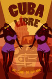 Welcome to Cuba retro poster. Cuba Libre. Vector stok. Stock Photography